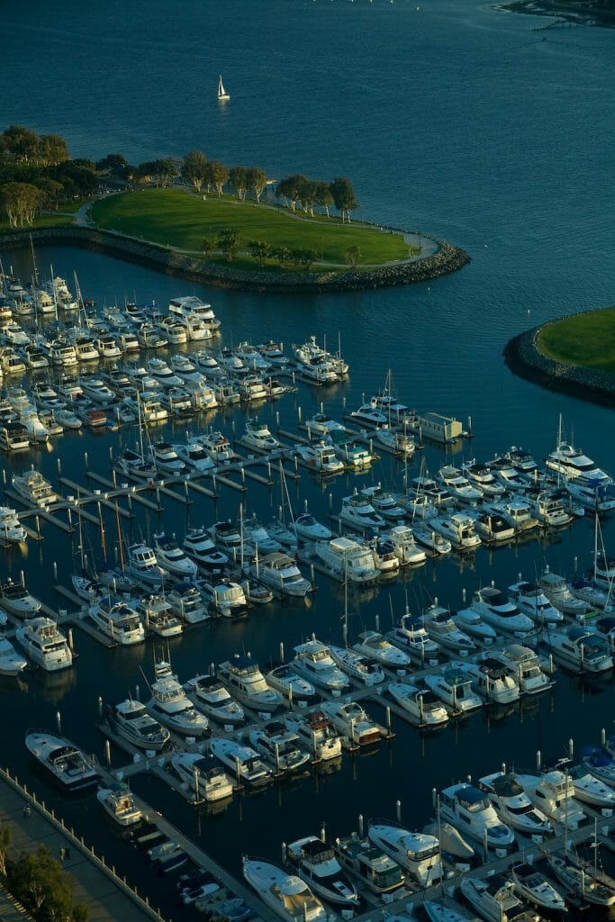 Boats neatly lined up row after row in the San Diego Marina