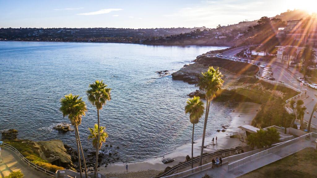 Drone shooting in San Diego California, La Jolla Cove area, November 24, 2017