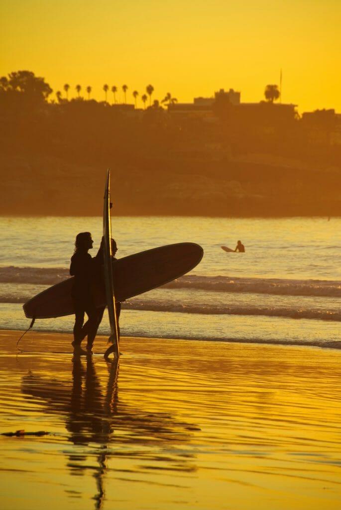 Surfers on a beach in La Jolla