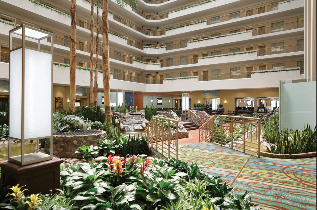 A large lobby, bright and soft in the middle of a cluster of rooms