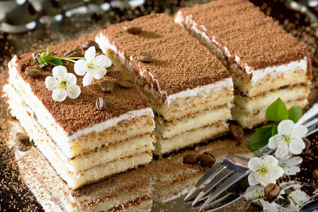 Italian dessert tiramisu. Traditional Italian cuisine, selective focus.