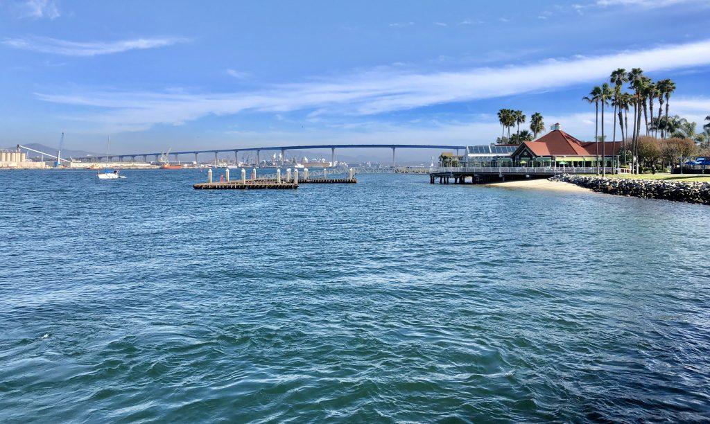 Coronado Bay Bridge on a sunny day taken from the San Diego Ferry to Coronado