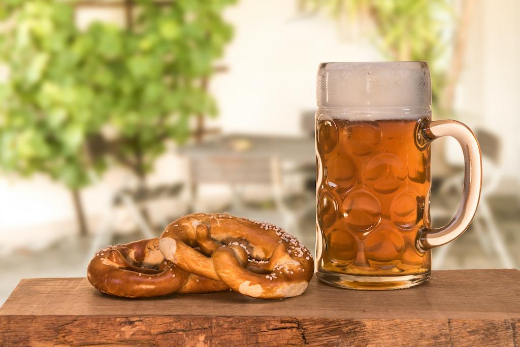 Beer and pretzel in the beer garden
