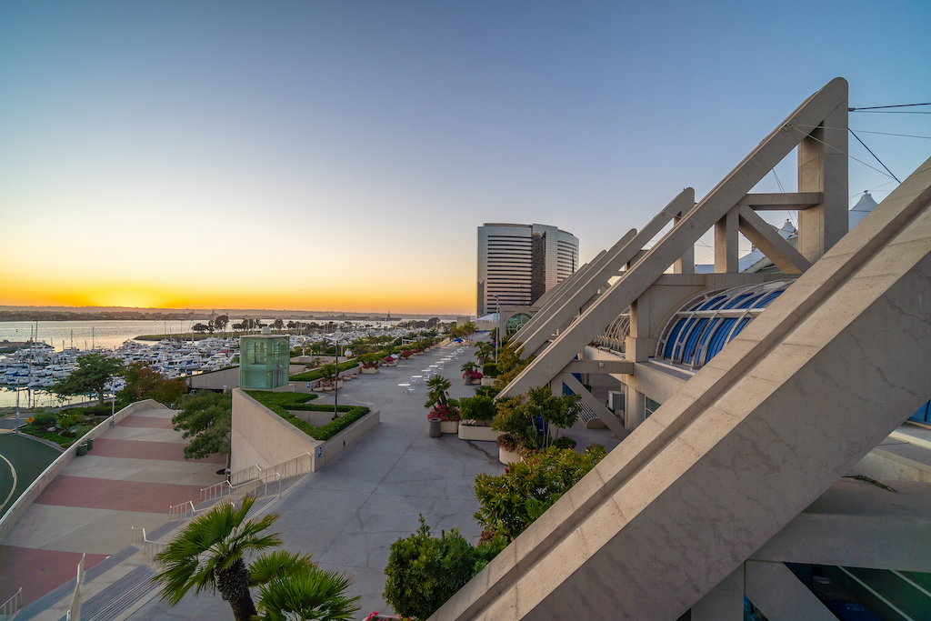 SAN DIEGO, USA - OCTOBER 21, 2019: San Diego Convention Center on September 28, 2014 It is located in the Marina district of downtown San Diego near the Gaslamp Quarter.
