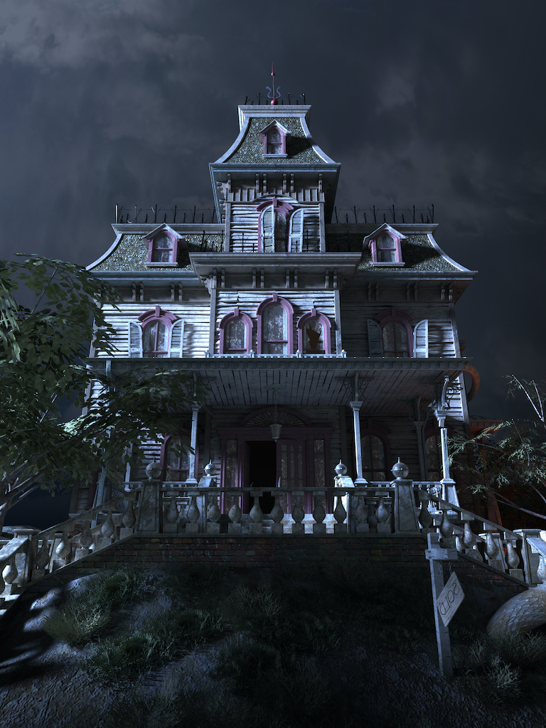 House on haunted hill with evil coming from the right.