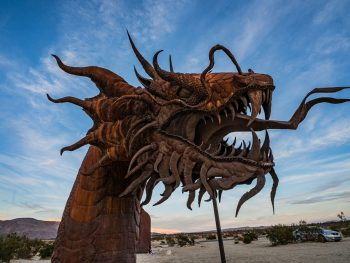 Head of rusty metal Dragon sculpture in Borrego Springs