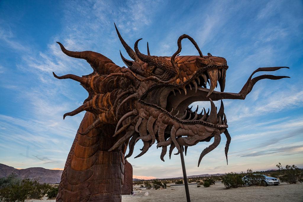 Head of rusty metal Dragon sculpture in Borrego Springs