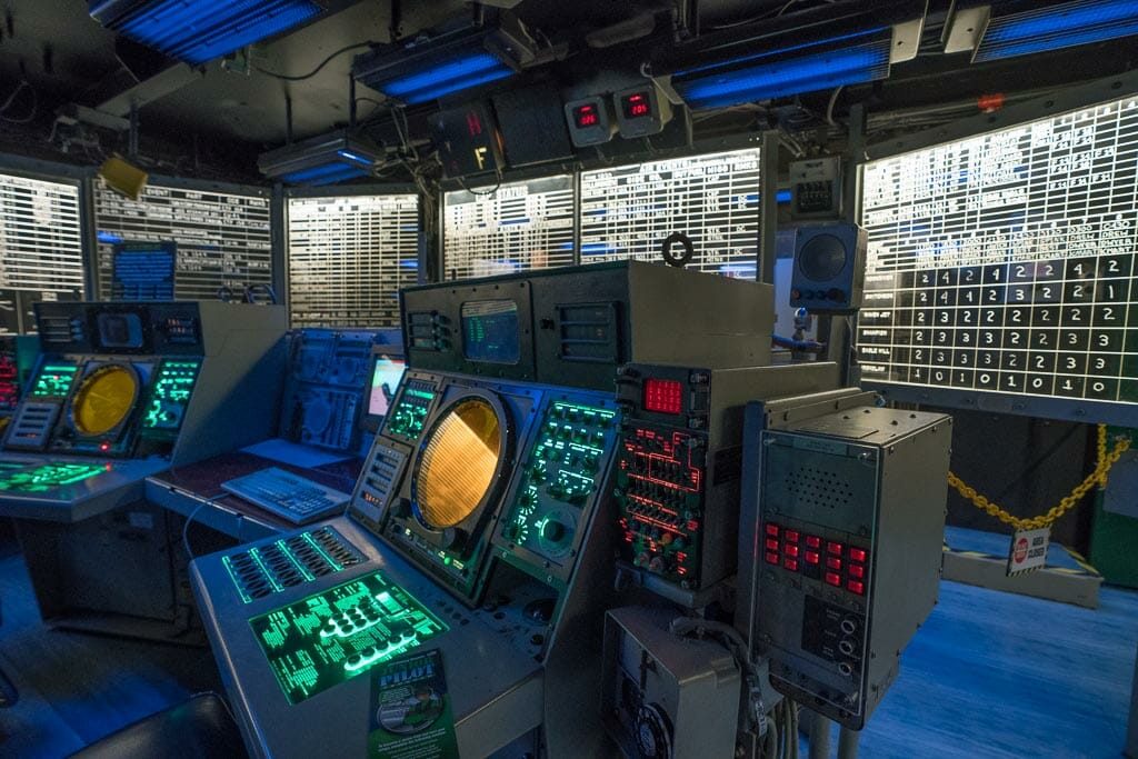 Command Center on the Midway - with radar screens and instruments