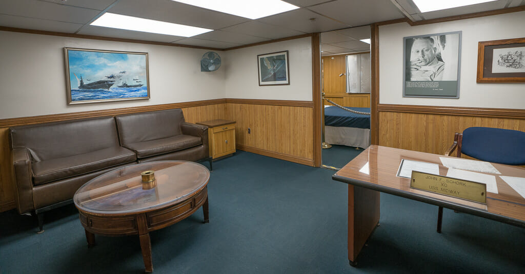 Admiral's apartment living room on the USS Midway aircraft carrier museum