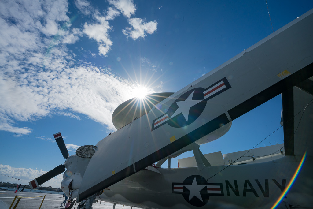 old propeller airplane on the flight deck of the USS Midway San Diego